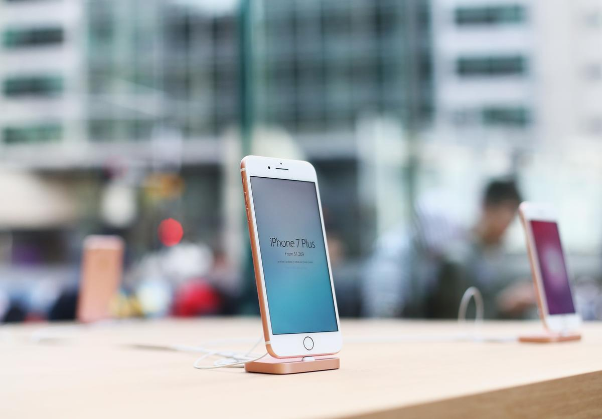 The iPhone 7 is seen at its release at Apple Store on September 16, 2016 in Sydney, Australia.