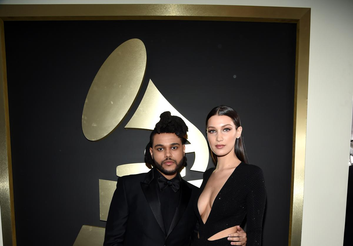 The Weeknd and Bella Hadid on the Grammys red carpet 2016