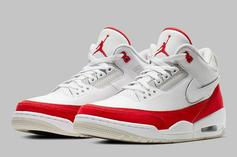 """Air Jordan 3 Tinker """"University Red"""" First Look At Velcro Swooshes"""