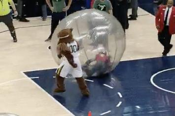 Watch: Utah Jazz Mascot Lays Out Clippers Fan During On-Court Contest