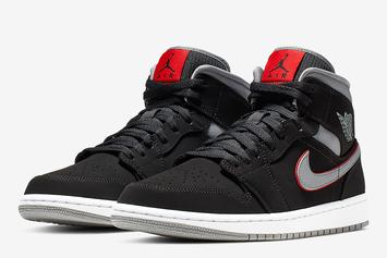 "Air Jordan 1 Mid ""Black/Grey/Red"" Details"
