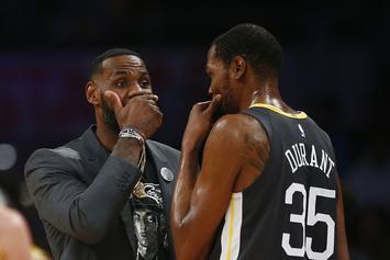 LeBron James & Kevin Durant Caught Sneaking A Convo, Twitter Erupts