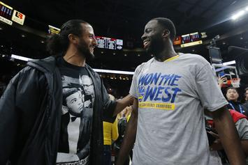 Colin Kaepernick & The Warriors Celebrate On Court After Blazers Sweep