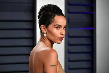 """Zoe Kravitz Laughs At Trump Impeachment With Topless Peach Photo: """"Eat That"""""""