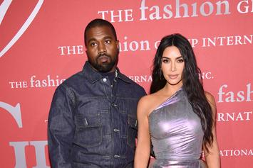 "Kim Kardashian & Kanye West Deal With Kids & ""Morning Madness"" In Family Photo"