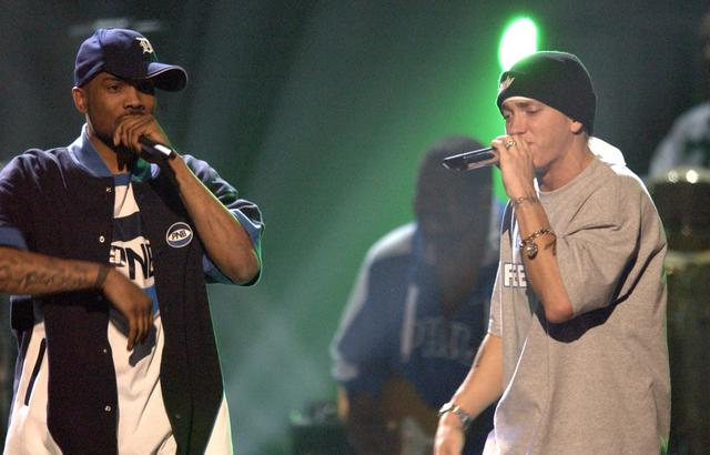 Eminem and Proof perform in 2003