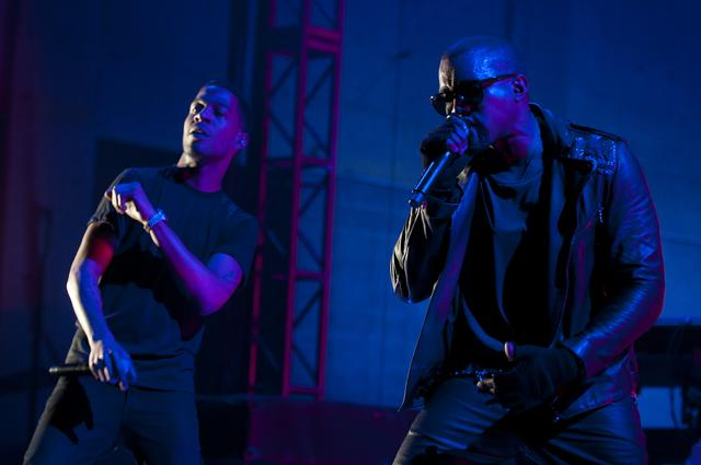 Kanye West and Kid Cudi perform in 2011