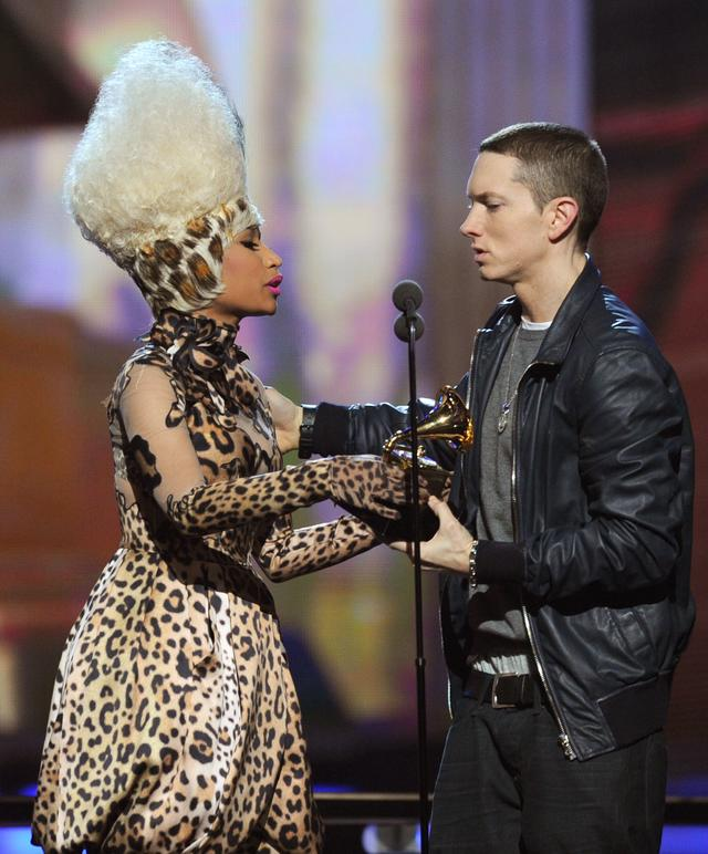 Eminem and Nicki Minaj on stage together at The Grammys