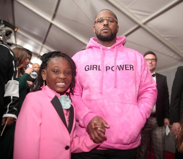 ScHoolboy in pink with his daughter at the grammys