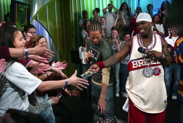 50 Cent at MTV TRL throwback pic