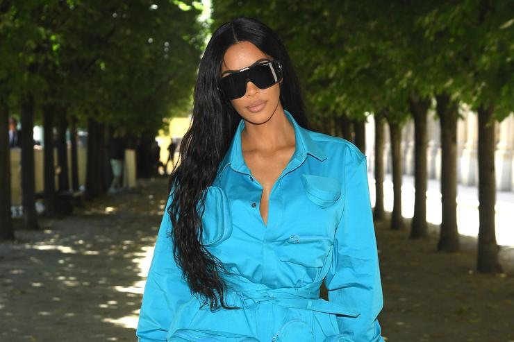 Kim Kardashian attends the Louis Vuitton Menswear Spring/Summer 2019