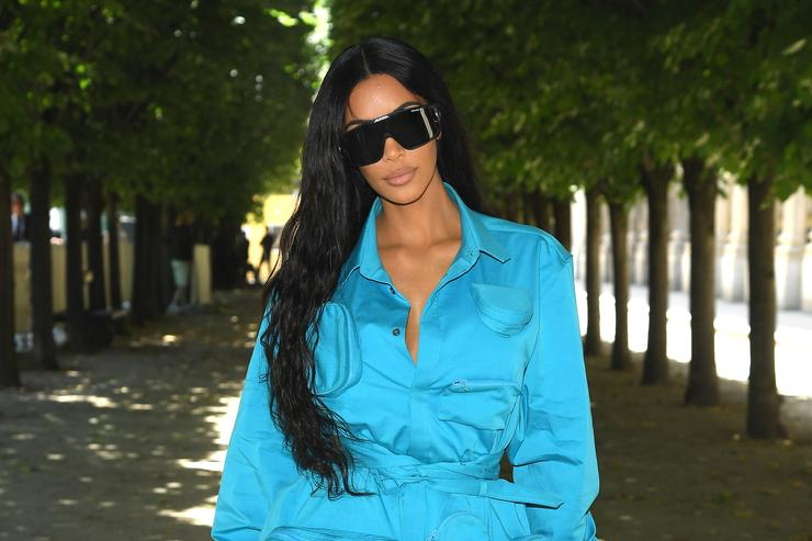 Kim Kardashian at Louis Vuitton S/S 2019 menswear show in Paris.