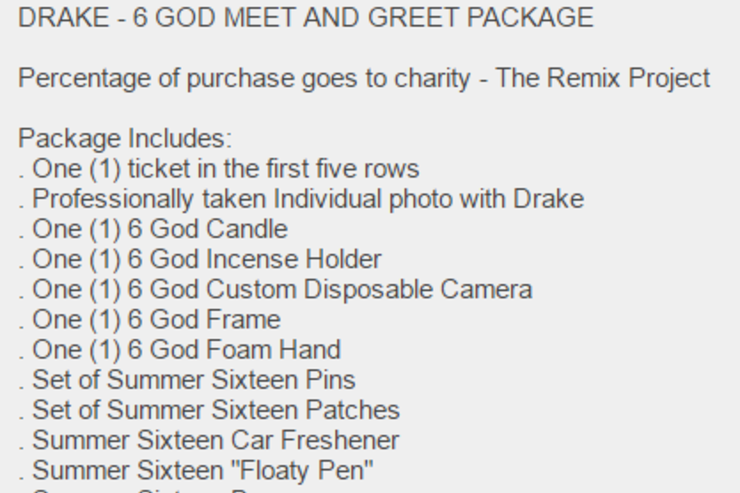 Drakes tour meet greet package includes 6 god candle incense cover m4hsunfo