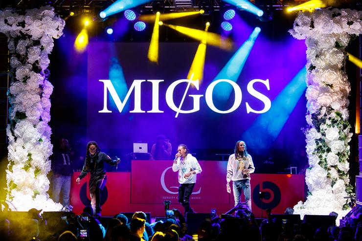 Recording artists Takeoff, Offset and Quavo of music group Migos performs onstage during 'All-Star Weekend Kick-Off Party' at Capitol Records Tower on February 15, 2018 in Los Angeles, California.