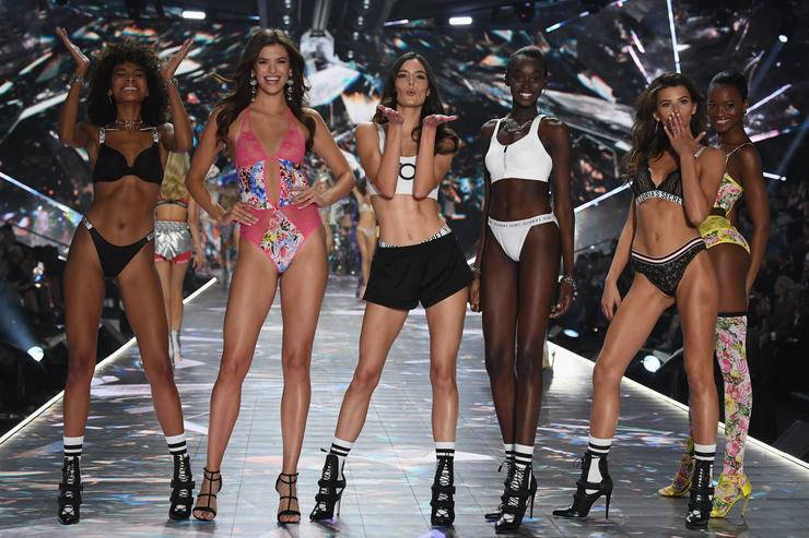 Cheyenne Maya Carty, Sofie Rovenstine, Sadie Newman, Subah Koj, Georgia Fowler, and Mayowa Nicholas walk the runway during the 2018 Victoria's Secret Fashion Show at Pier 94 on November 8, 2018 in New York City